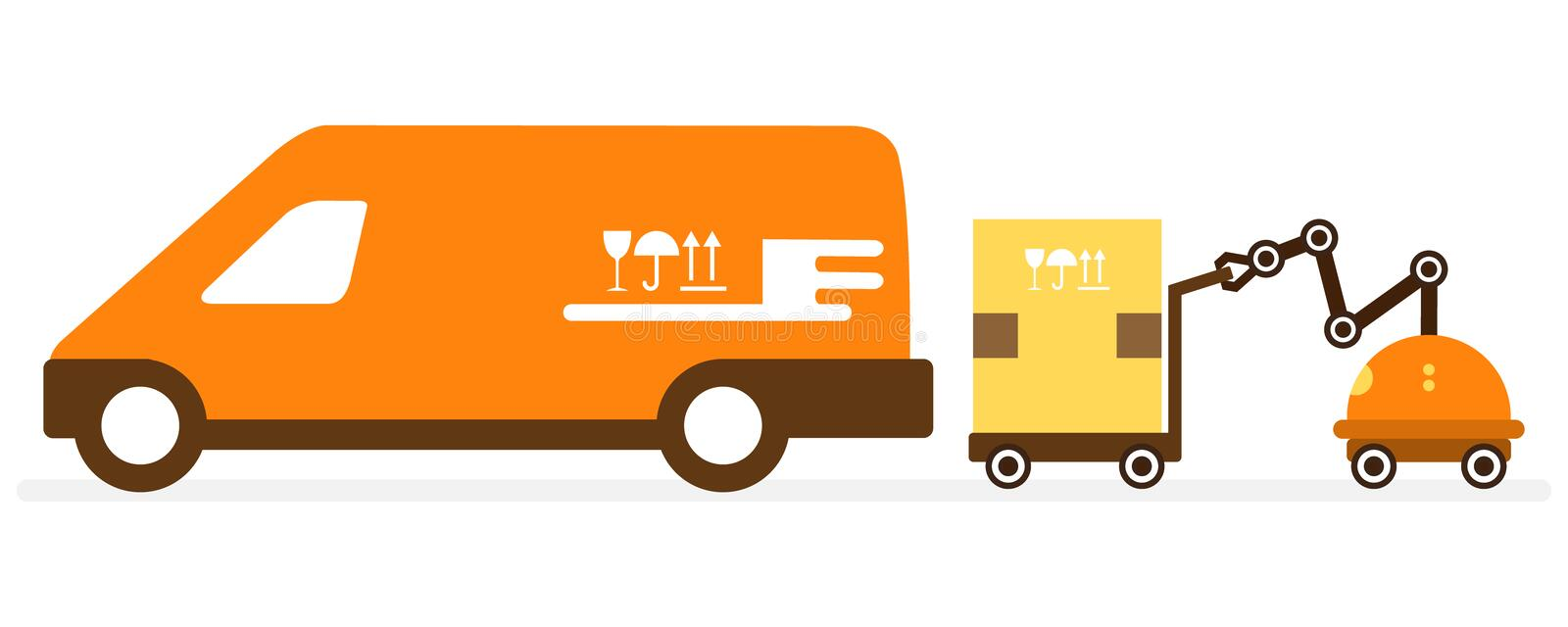 Automation warehouse processes. Smart Logistic. Vector illustration with robot loader loads boxes into a car. Automation warehouse processes. Smart Logistic stock illustration