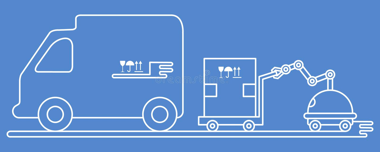 Automation warehouse processes. Smart Logistic. Vector illustration with robot loader loads boxes into a truck. Automation warehouse processes. Smart Logistic royalty free illustration