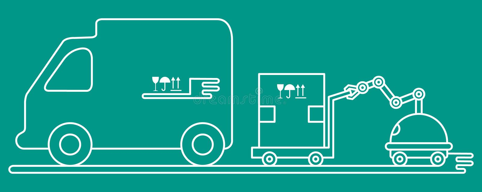 Automation warehouse processes. Smart Logistic. Vector illustration with robot loader loads boxes into a truck. Automation warehouse processes. Smart Logistic vector illustration