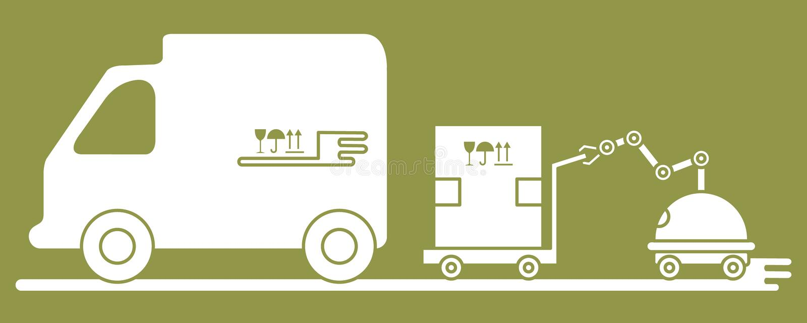 Automation warehouse processes. Smart Logistic. Vector illustration with robot loader loads boxes into a truck. Automation warehouse processes. Smart Logistic stock illustration