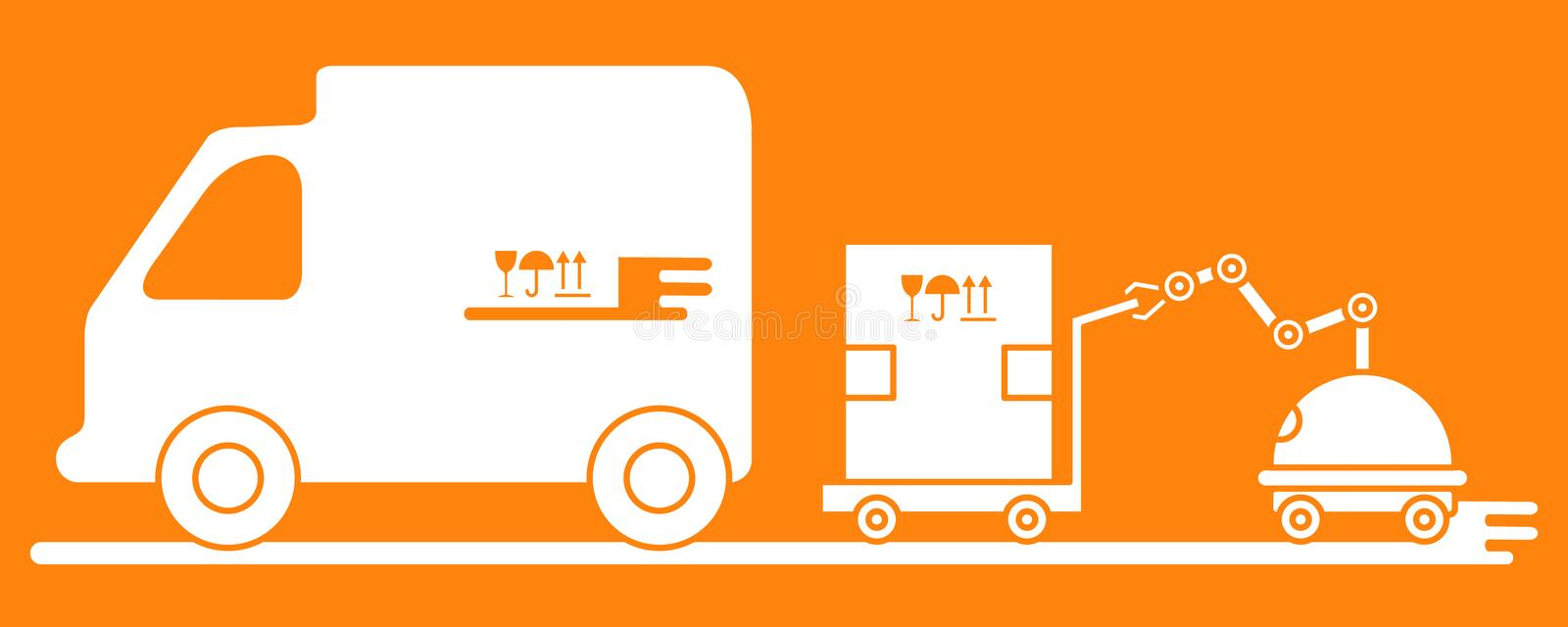 Automation warehouse processes. Smart Logistic. Vector. Vector illustration with robot loader loads boxes into a truck. Automation warehouse processes. Smart royalty free illustration