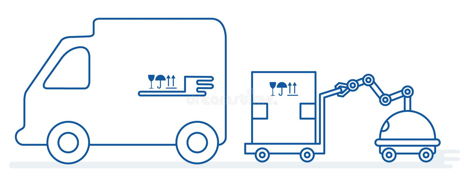 Automation warehouse processes. Smart Logistic. Vector. Vector illustration with robot loader loads boxes into a truck. Automation warehouse processes. Smart vector illustration