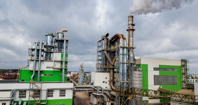 Automation wood factory. Wood processing factory royalty free stock photo