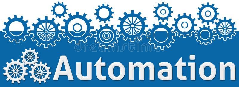 Automationtext med kugghjul överst stock illustrationer