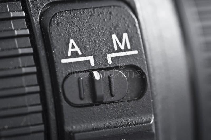 Automatique contre l'objectif de caméra manuel photo libre de droits