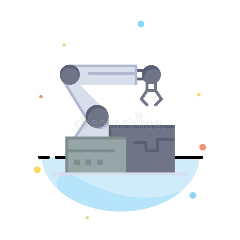 Automatisé, robotique, bras, affaires Logo Template de technologie couleur plate illustration de vecteur