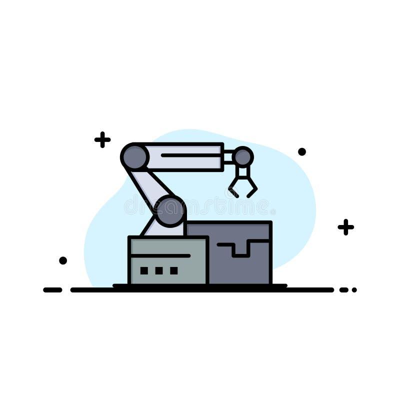 Automatisé, robotique, bras, affaires Logo Template de technologie couleur plate illustration libre de droits