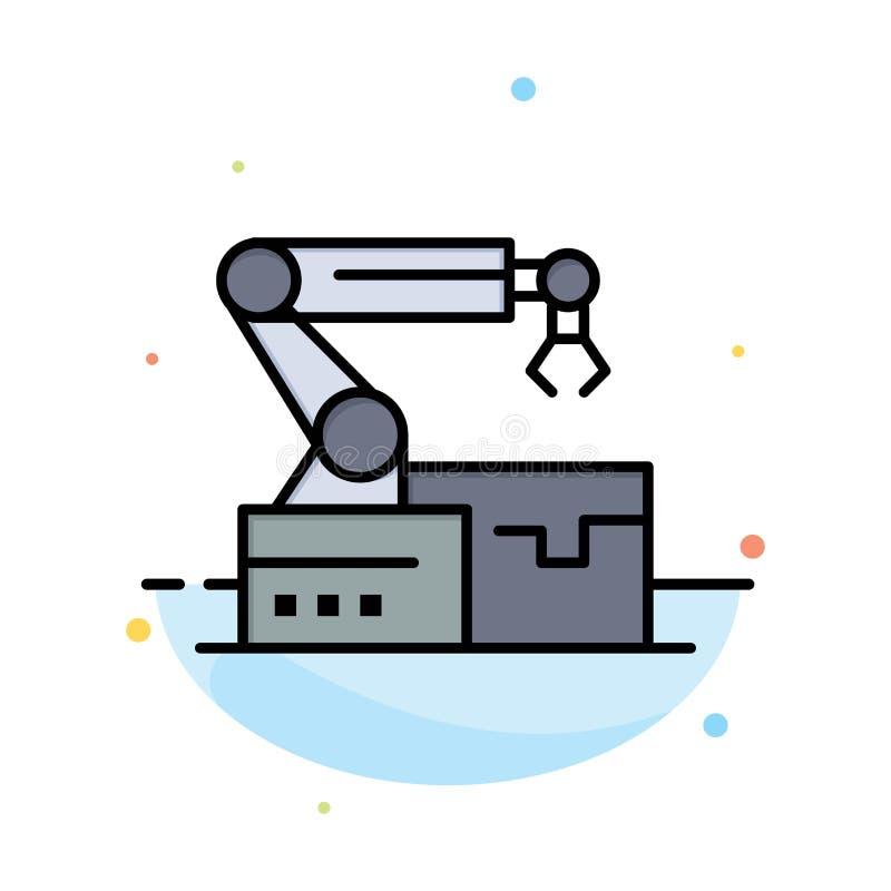 Automatisé, robotique, bras, calibre plat d'icône de couleur d'abrégé sur technologie illustration libre de droits
