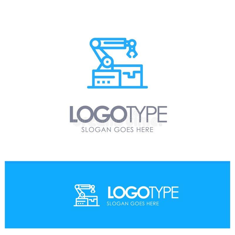 Automatisé, robotique, bras, contour bleu Logo Place de technologie pour le Tagline illustration de vecteur