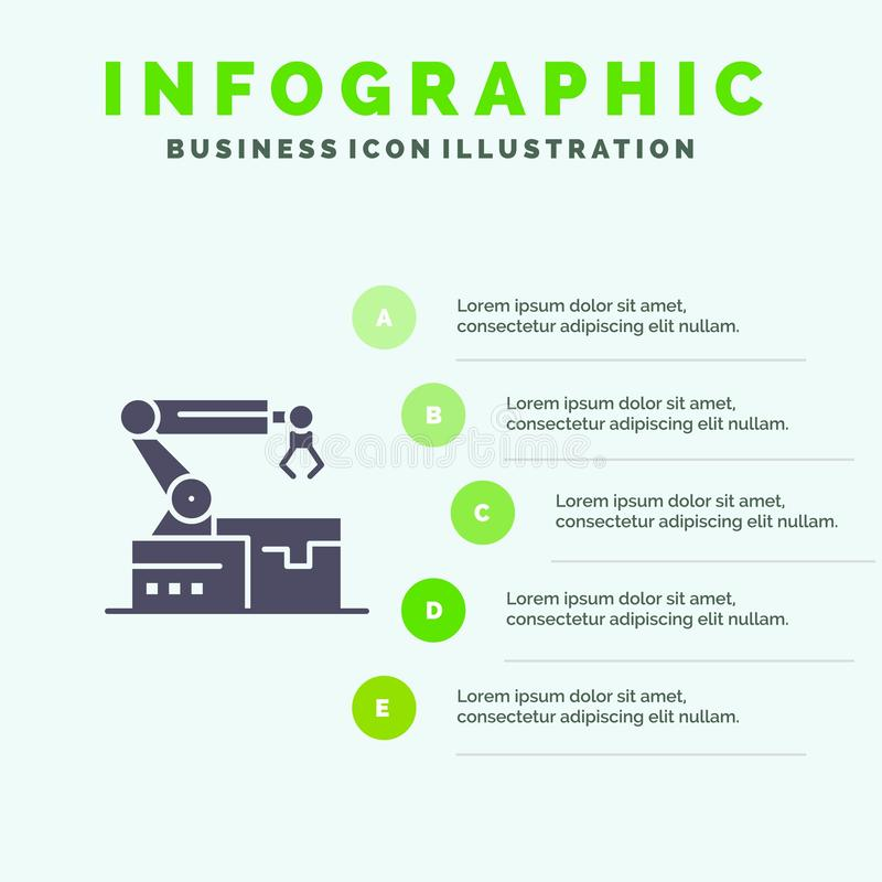 Automatisé, robotique, bras, fond solide de présentation d'étapes d'Infographics 5 d'icône de technologie illustration de vecteur