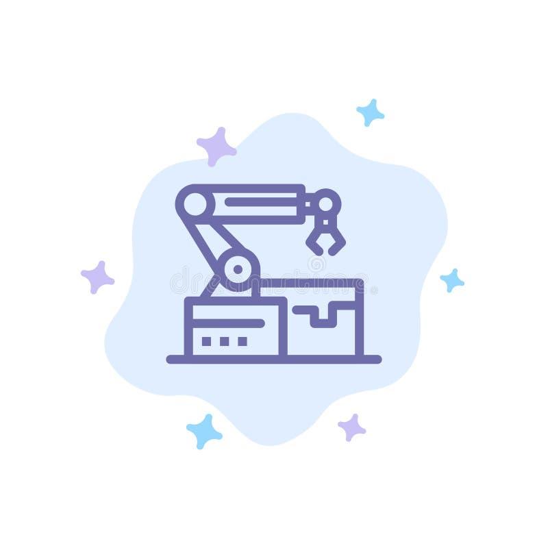 Automatisé, robotique, bras, icône bleue de technologie sur le fond abstrait de nuage illustration libre de droits