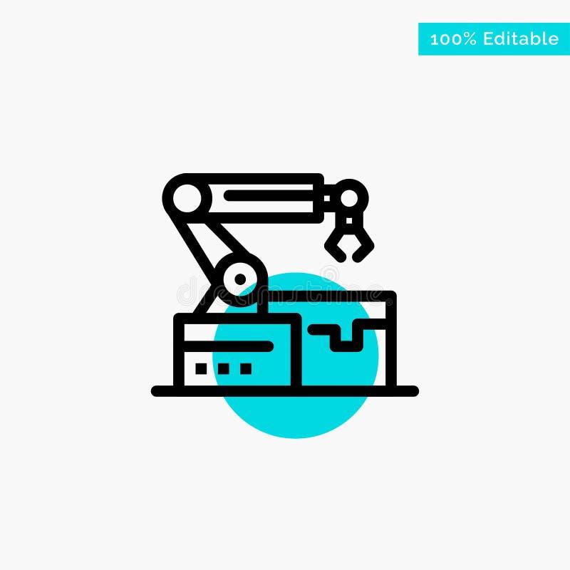 Automatisé, robotique, bras, icône de vecteur de point de cercle de point culminant de turquoise de technologie illustration de vecteur