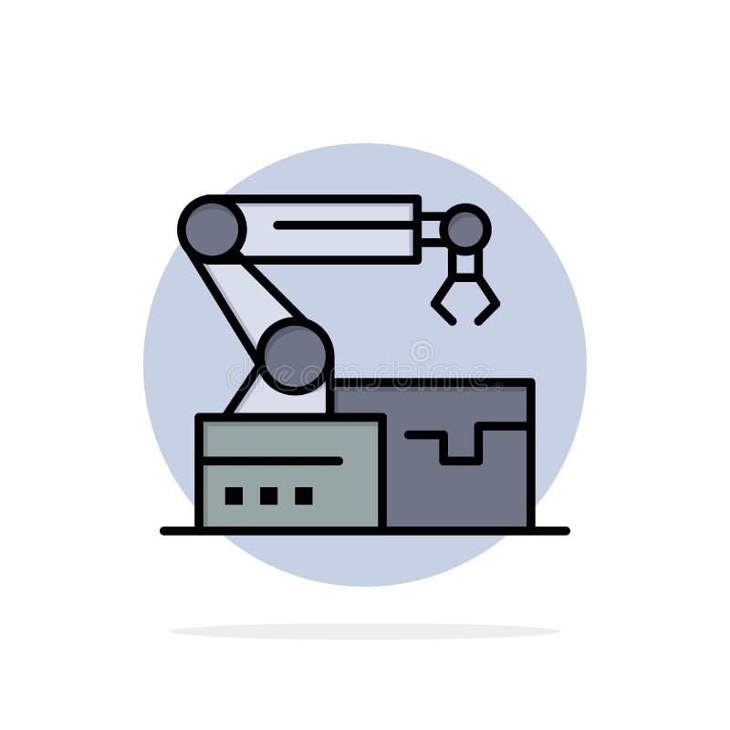 Automatisé, robotique, bras, icône plate de couleur de fond abstrait de cercle de technologie illustration libre de droits