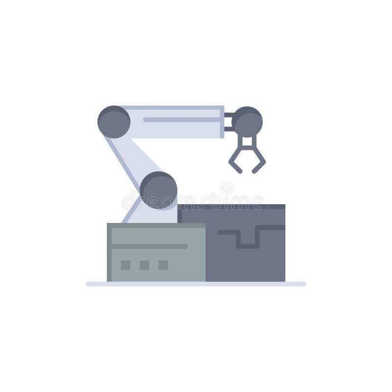 Automatisé, robotique, bras, icône plate de couleur de technologie Calibre de bannière d'icône de vecteur illustration stock