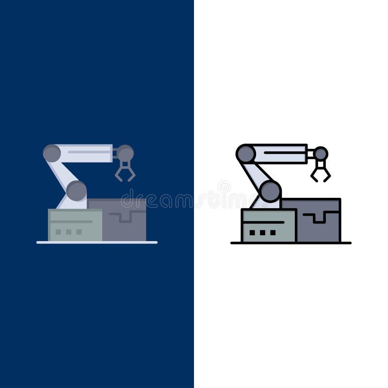 Automatisé, robotique, bras, icônes de technologie L'appartement et la ligne icône remplie ont placé le fond bleu de vecteur illustration stock
