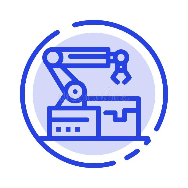 Automatisé, robotique, bras, ligne pointillée bleue ligne icône de technologie illustration libre de droits