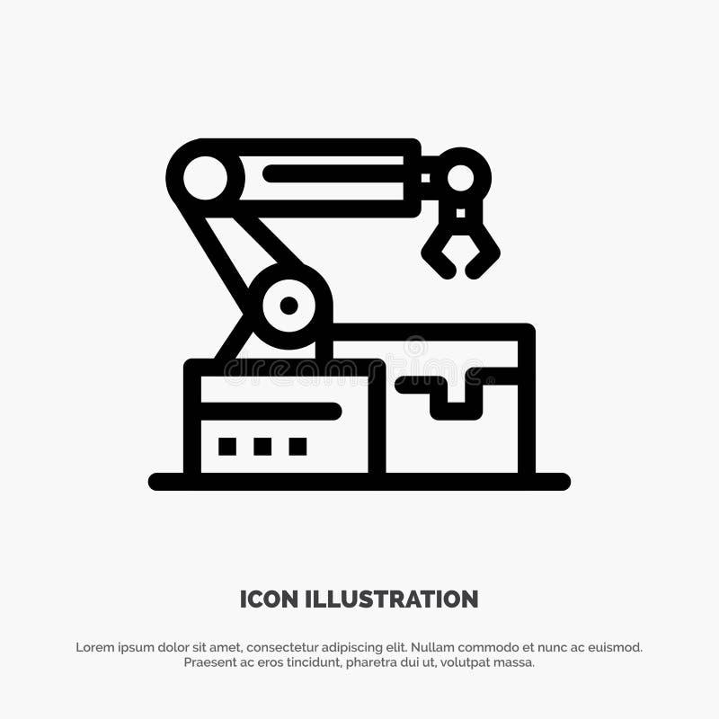 Automatisé, robotique, bras, ligne vecteur de technologie d'icône illustration libre de droits