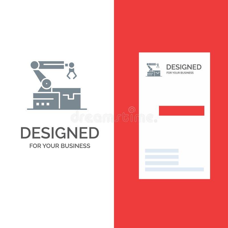 Automatisé, robotique, bras, technologie Grey Logo Design et calibre de carte de visite professionnelle de visite illustration de vecteur