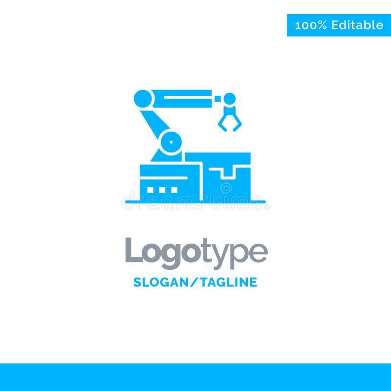 Automatisé, robotique, bras, technologie Logo Template solide bleu Endroit pour le Tagline illustration stock