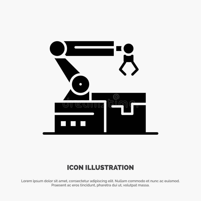 Automatisé, robotique, bras, vecteur solide d'icône de Glyph de technologie illustration libre de droits