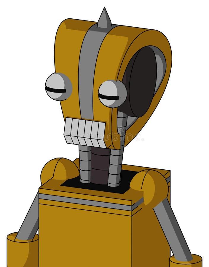 Automatisation Jaune Sombre Avec Tête De Droite Et Bouche De Dents Et Deux Yeux Et Astuce D'Essuie illustration stock