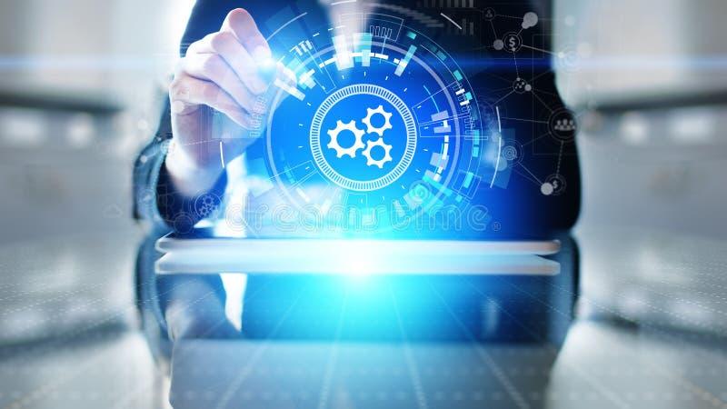 Automatisation, optimisation des processus métiers et industriels, concept de développement logiciel sur écran virtuel image stock