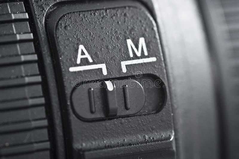 Automatisch gegen manuelles Kameraobjektiv lizenzfreies stockfoto