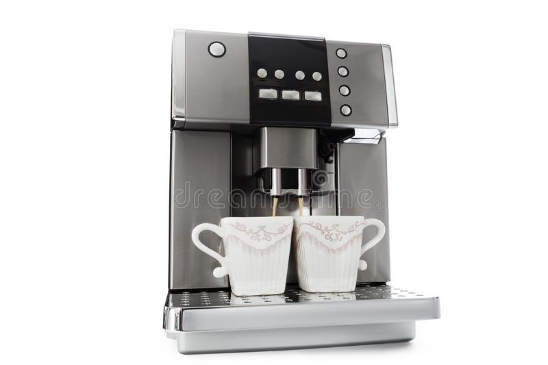 Automatisch koffiezetapparaat voor twee koppen van koffie royalty-vrije stock foto