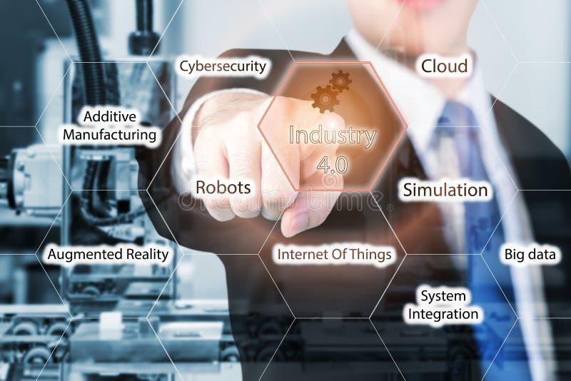 Automatisch robotwapen met optische sensor die in fabriek werken stock afbeeldingen