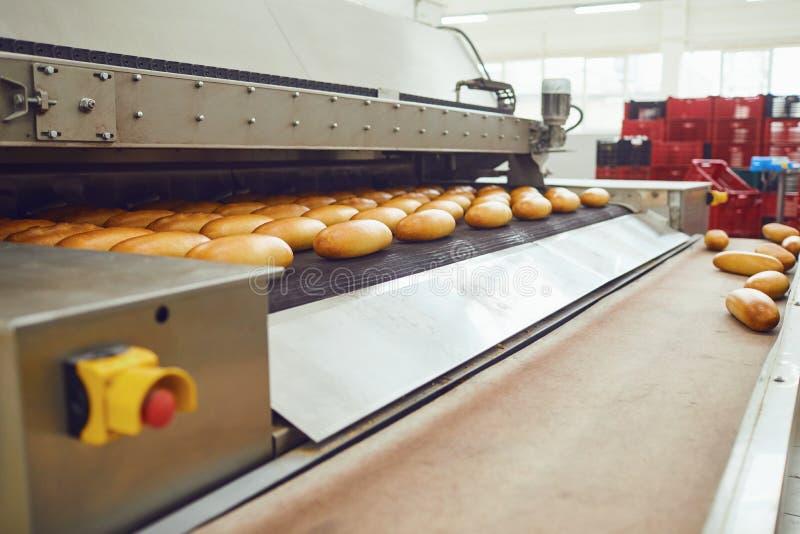 Automatische B?ckereifertigungsstra?e mit Brot in der B?ckereifabrik stockbilder