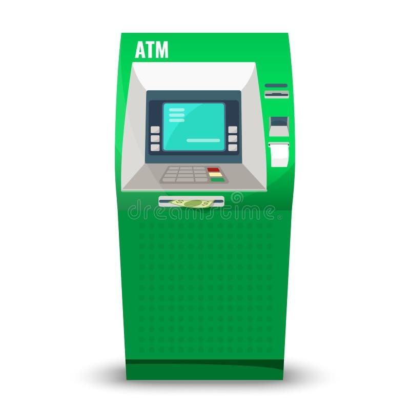 Automatische die tellermachine op witte achtergrond wordt geïsoleerd Geautomatiseerd bankwezen bankomat stock illustratie