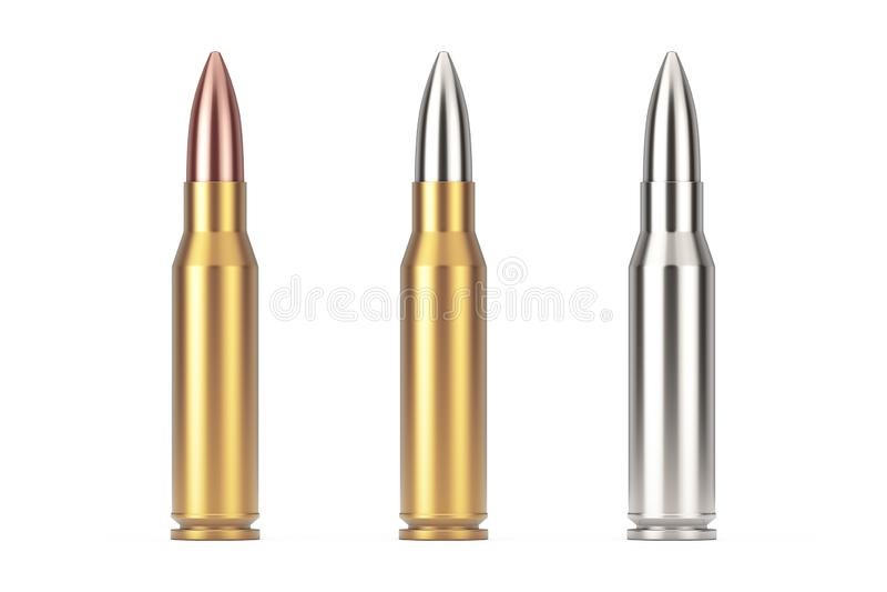Automatische Gewehre 7 62 Millimeter-Kaliber-Metallkugel Wiedergabe 3d stock abbildung