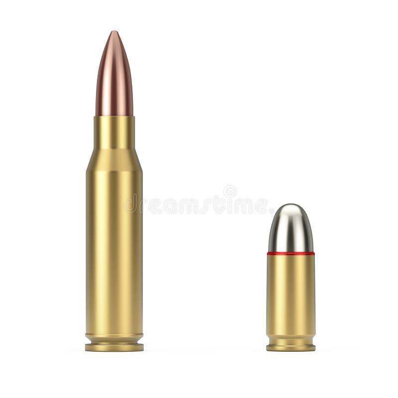 Automatische Gewehre 7 62 Millimeter-Kaliber und 9 Millimeter-Metallgewehr-Kugel Wiedergabe 3d stock abbildung