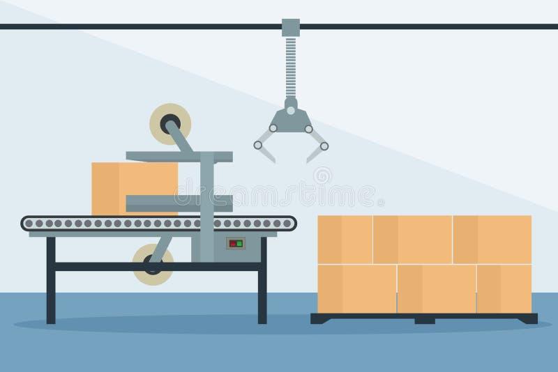 Automatische industriële inpakkende en verzegelende doosproductielijn stock illustratie