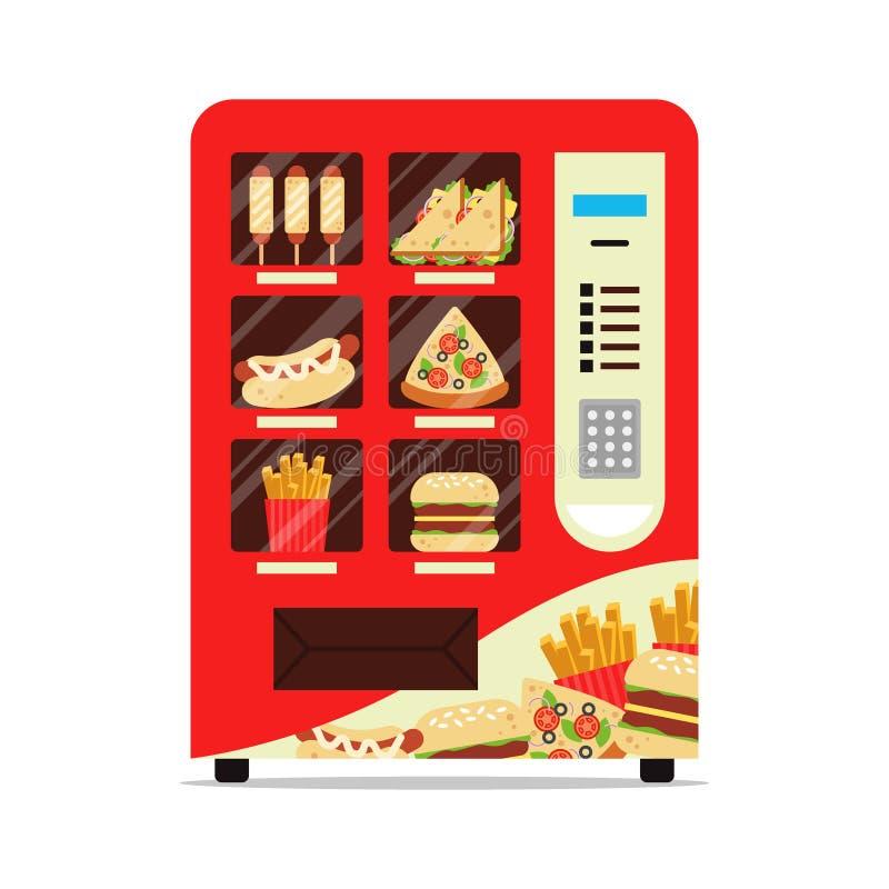 Automatischer Automat der warmen Küche mit dem Wurstteigsandwichpizza-Pommes-Friteshamburger lokalisiert auf Weiß Rot lizenzfreie abbildung