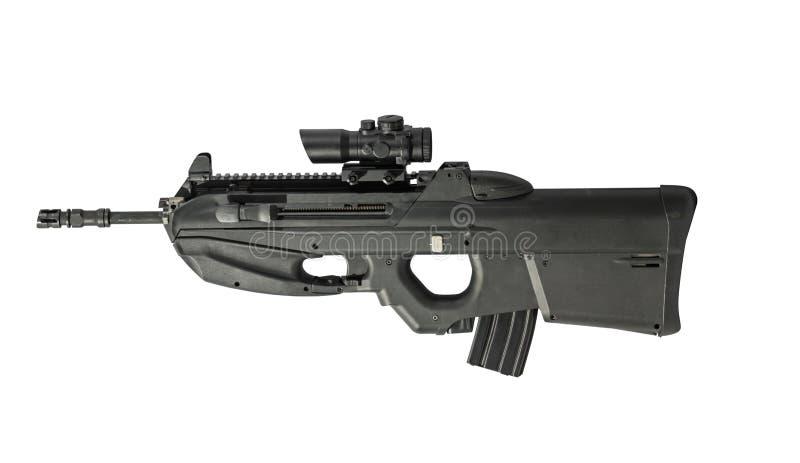 Automatisches Gewehr lokalisiert auf dem weißen Hintergrund gelassen stockfotos