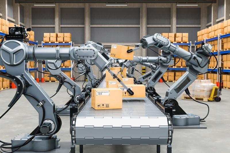 Automatisches Lager mit den Roboterarmen, Wiedergabe 3D vektor abbildung