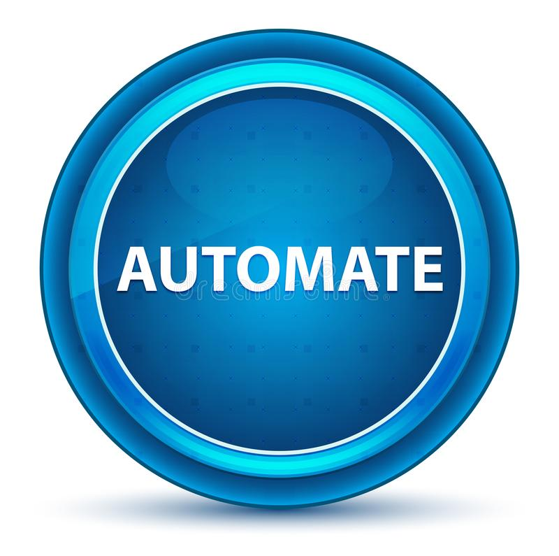 Automatisera den blåa runda knappen för ögongloben stock illustrationer