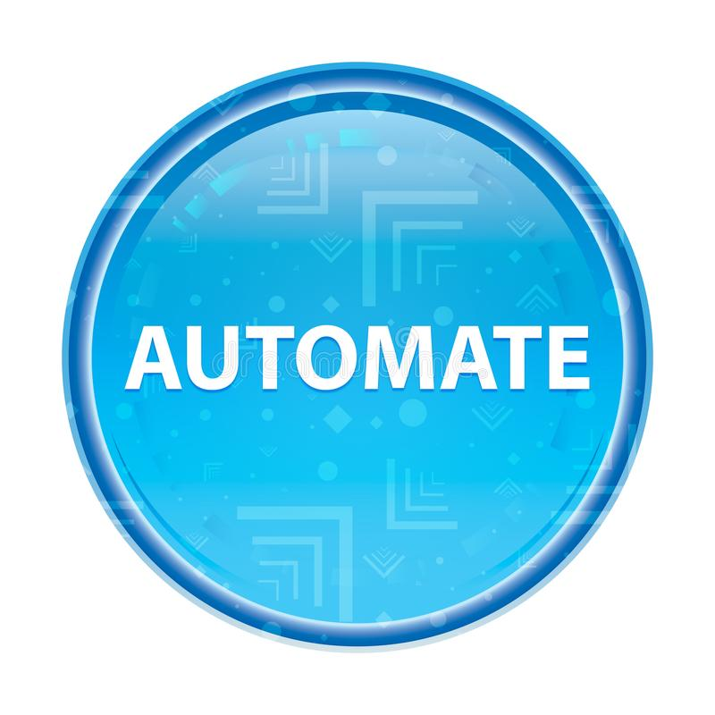 Automatisera den blom- blåa runda knappen royaltyfri illustrationer