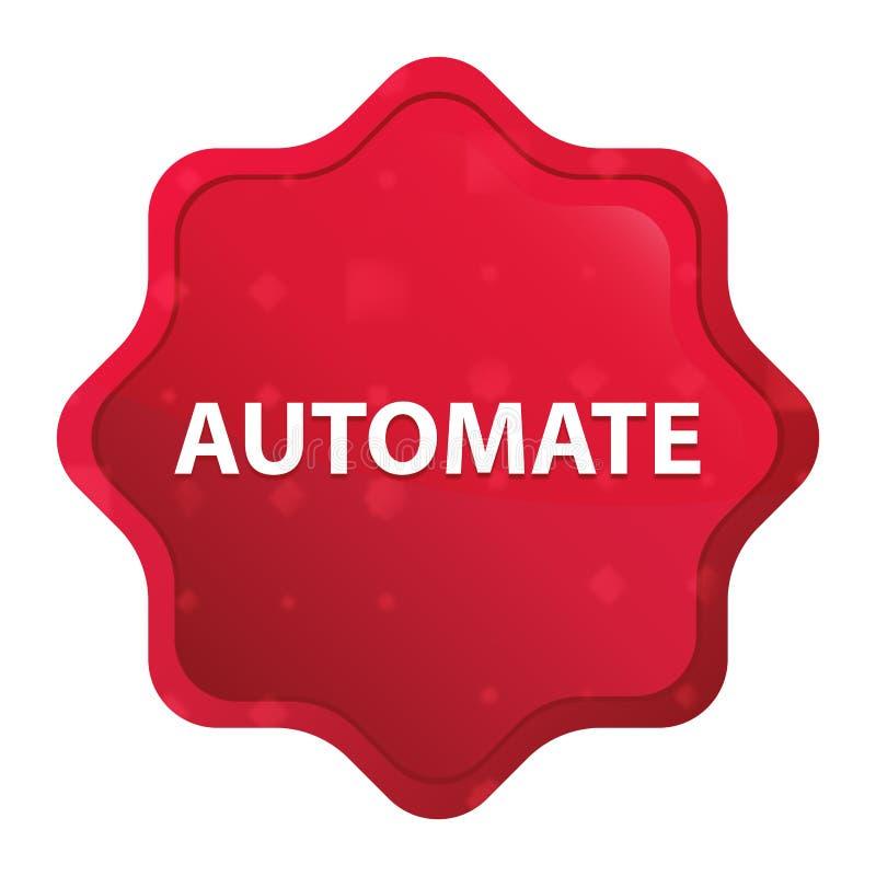 Automatisera den dimmiga rosa röda starburstklistermärkeknappen stock illustrationer