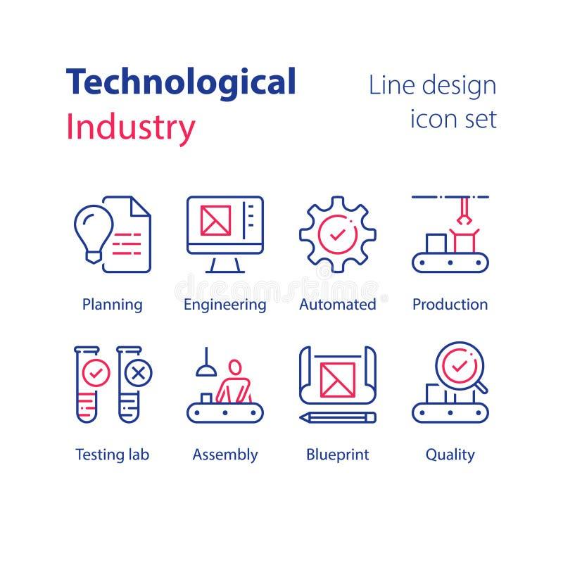 Automatiserad bransch, teknologisk produktion, manuell arbetare på monteringsbandet, kvalitets- kontroll, testa labb, prövkopiarö royaltyfri illustrationer