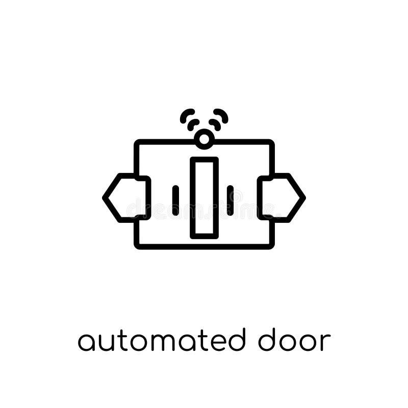 automatiserad dörrsymbol Automatiserad moderiktig modern plan linjär vektor stock illustrationer