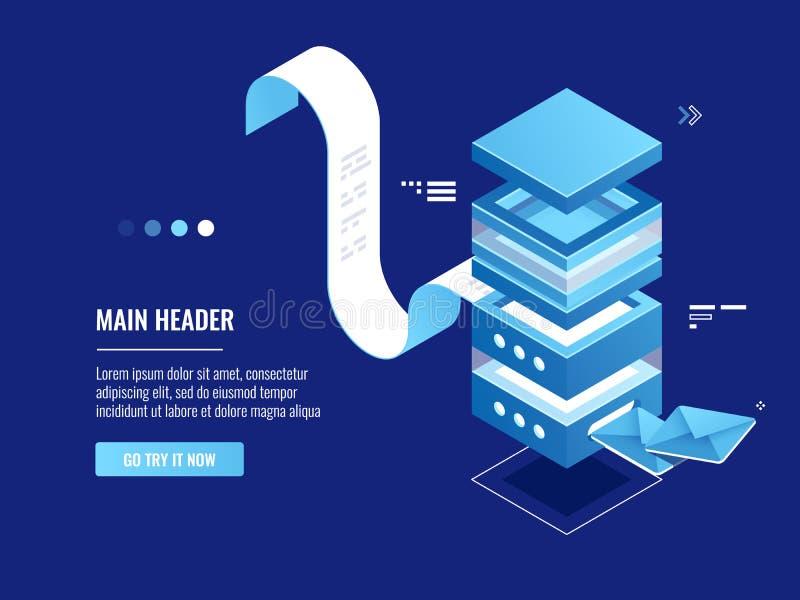 Automatiserad emailmassageöverföring, onineadvertizingen och befordran, e-postserverrum, packar in vektor illustrationer