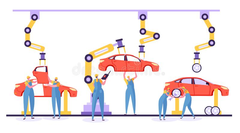 Automatiserat begrepp för monteringsbandbilproduktion stock illustrationer
