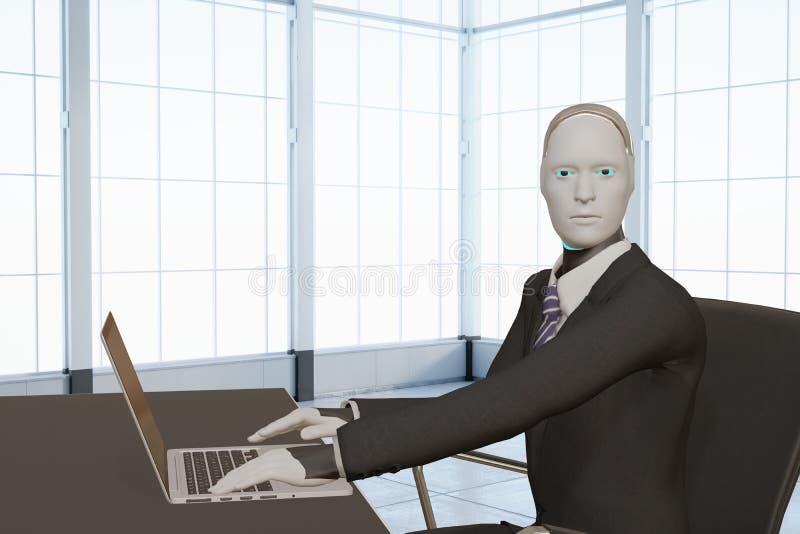 Automatisering 3d-rendering av artificiella intelligenta, humana företag som arbetar med bärbara datorer i kontorskoncept vektor illustrationer