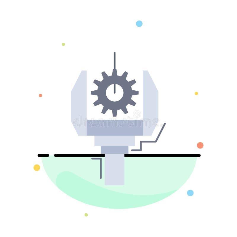 Automatisering, de industrie, machine, productie, het Pictogramvector van de robotica Vlakke Kleur stock illustratie