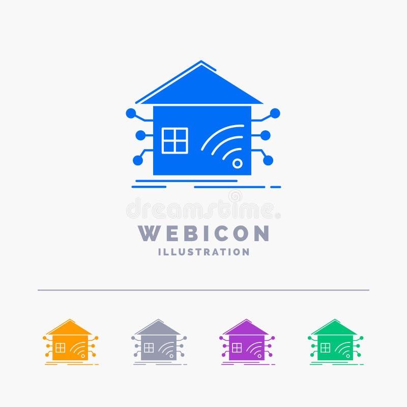 Automatisering, huis, slim huis, netwerk 5 het Malplaatje van het het Webpictogram van Kleurenglyph dat op wit wordt geïsoleerd V vector illustratie