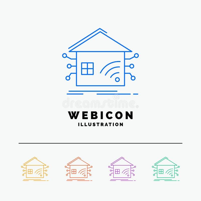 Automatisering, huis, slim huis, netwerk 5 het Pictogrammalplaatje van het Rassenbarrièreweb op wit wordt geïsoleerd dat Vector i stock illustratie