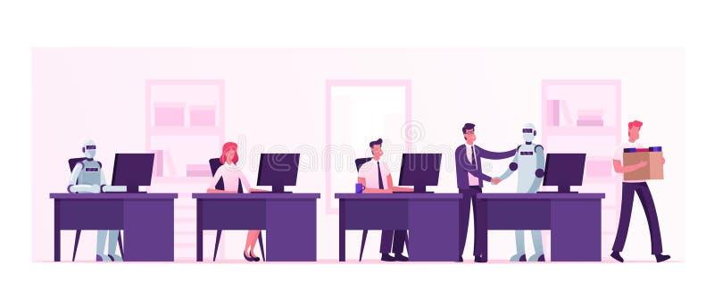 Automatisering, Kunstmatige Intelligentie, Menselijke Vs Robots Baas Shaking Hand to Cyborg Working in Office on a Par with Peopl stock illustratie
