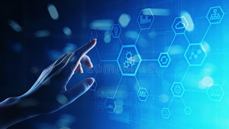 Automatisering van zaken en industrieel proces Slim fabriek en technologieinnovatieconcept op het virtuele scherm stock illustratie